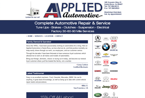 Auto Body Shop Website Example