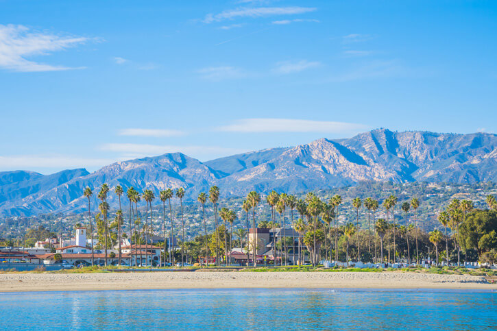 Sandy beaches and California mountains